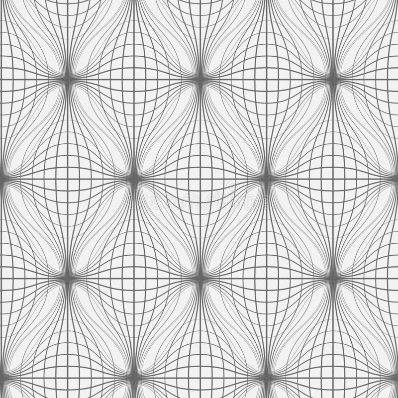 Lines pattern in Tech style. Monochrome seamless wavy net background vector illustration