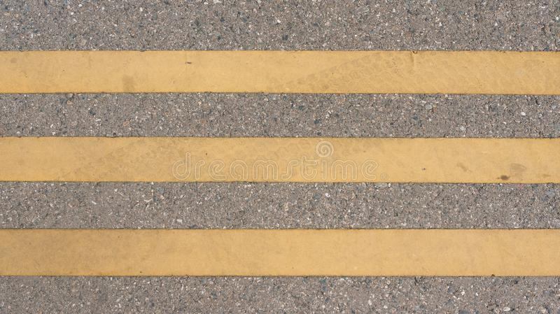 Lines on the road Pedestrian pathway Road marking straight lines. stock images