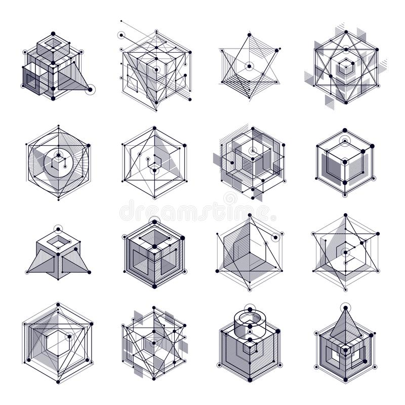Lines and shapes abstract vector isometric 3D black and white ba vector illustration