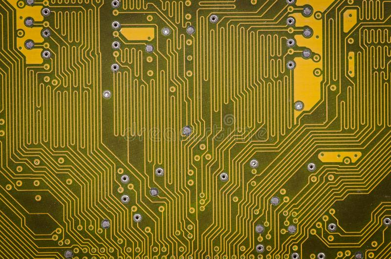 Lines and solder joints of the modern circuit board.  royalty free stock photography