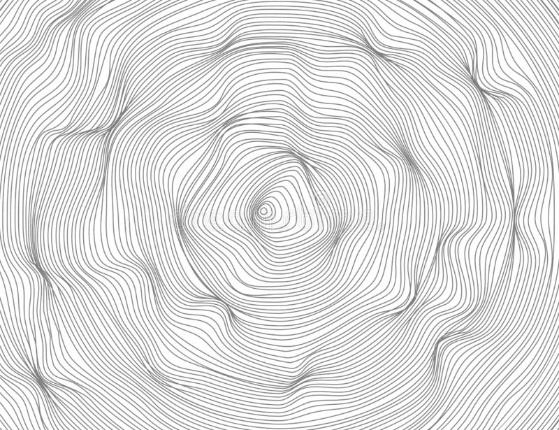 The lines are wavy round, oval abstract dark. Vector texture ellipse pattern, isolated white background. Able to overlay. stock illustration