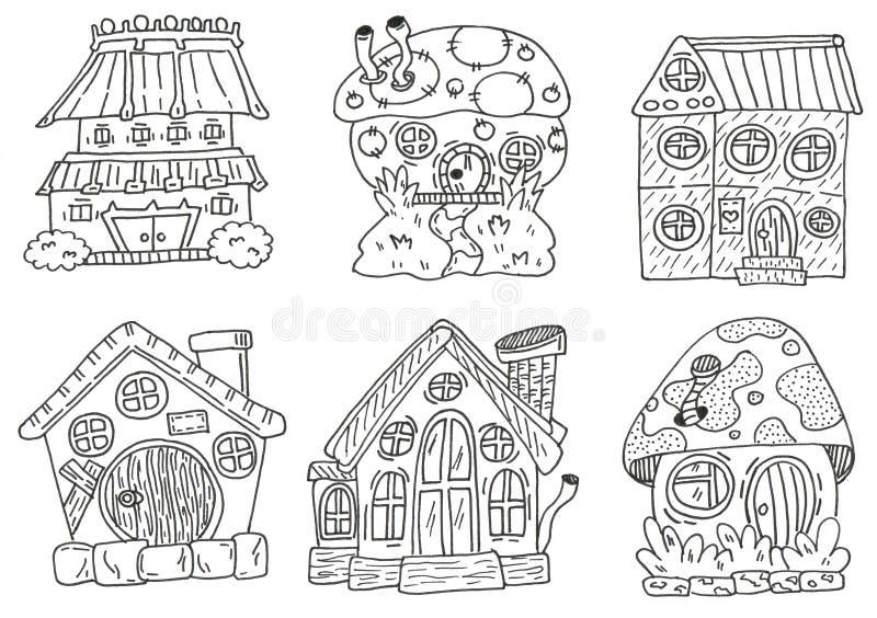 Linework das casas Desenho da mão ajustado para stikers ou cópia ilustração do vetor