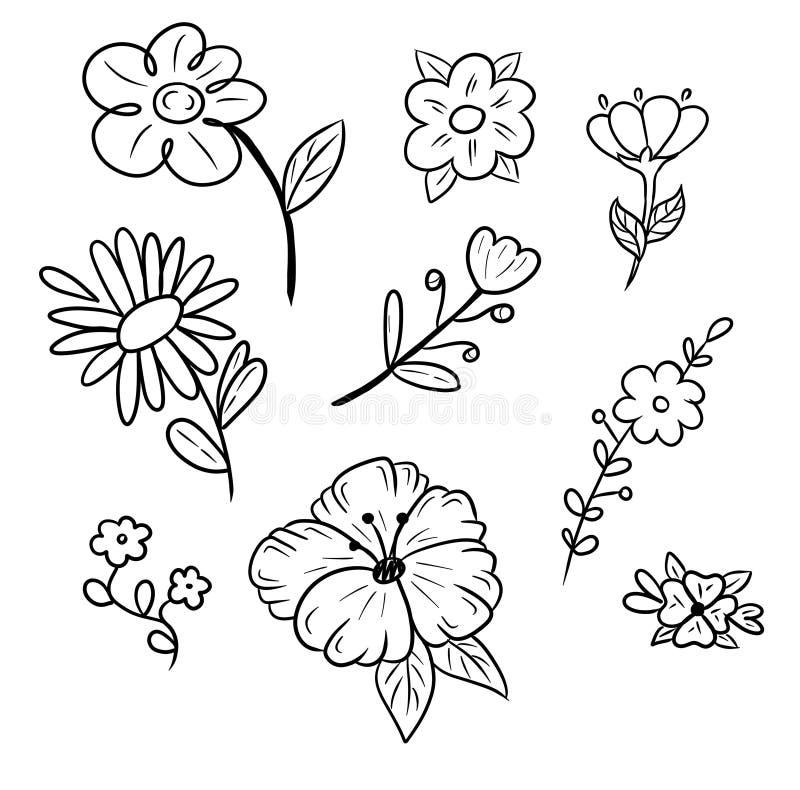 Linework - kwiaty ustawiaj?cy Czarna handmade linia - cyfrowa sztuka dla druku, stikers lub domu, royalty ilustracja