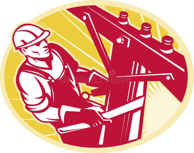 Download Lineworker Power Lineman Climbing Electric Pole Stock Illustration - Illustration of pole, illustration: 22163550