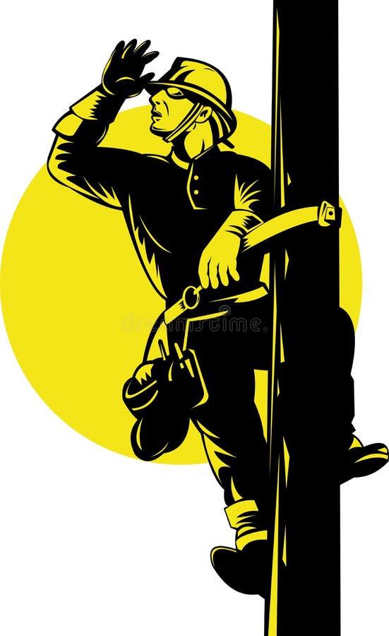 lineworker słupa władza ilustracji