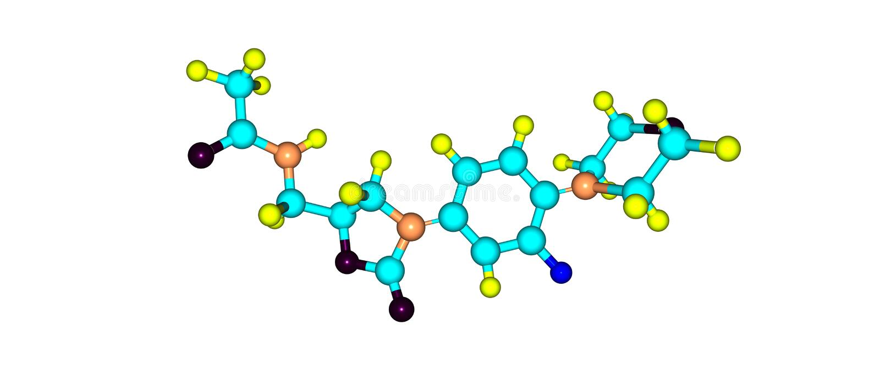 Linezolid antibiotic molecular structure isolated on white vector illustration