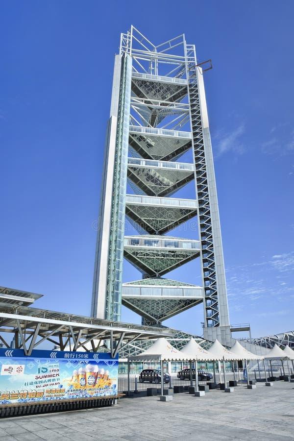 Ling Long Pagoda, parque olímpico, Pequim, China imagens de stock