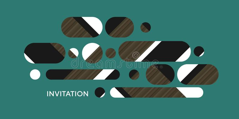 Ling oval shapes horizontal composition. Vintage geometric design element with middle age vibes in emerald green, white, black, brown wood texture stock illustration
