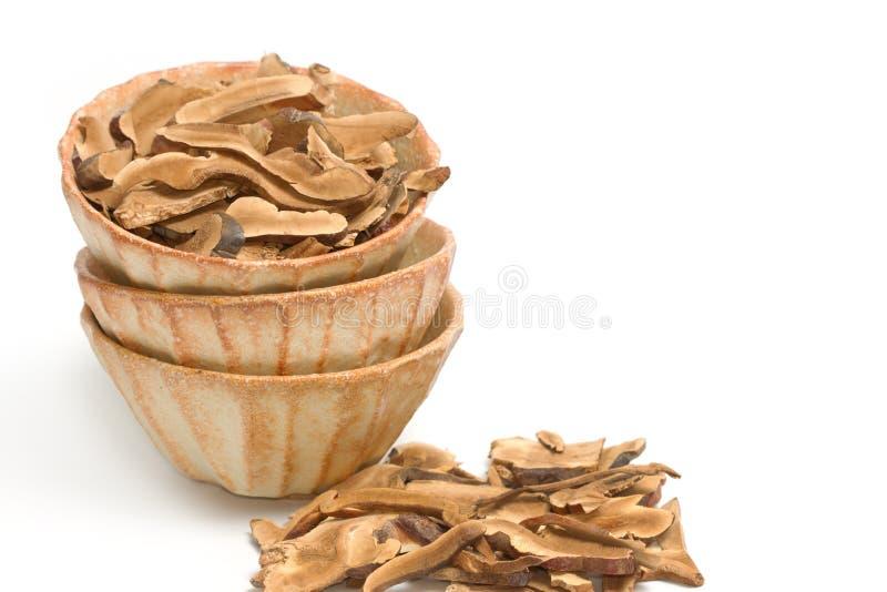 Ling Zhi Mushroom seco, cogumelo de Reishi (lucidum de Ganoderma (lacônico imagens de stock royalty free