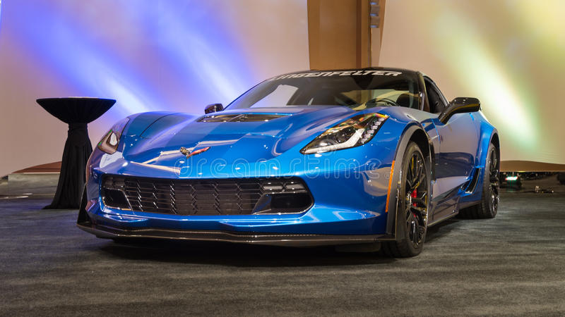 2015 Lingenfelter Z06 Corvette. DETROIT, MI/USA - JANUARY 10, 2016: A 2015 Lingenfelter Z06 Corvette at The Gallery, an event sponsored by the North American royalty free stock image