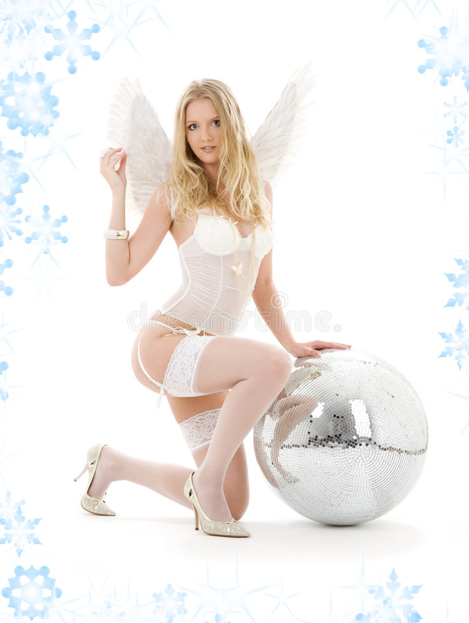 Download Lingerie Angel With Disco Ball Stock Photo - Image: 6817460