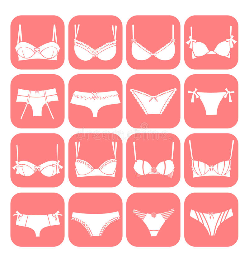 Download Lingerie Icon Set stock vector. Image of modern, cute - 20885087