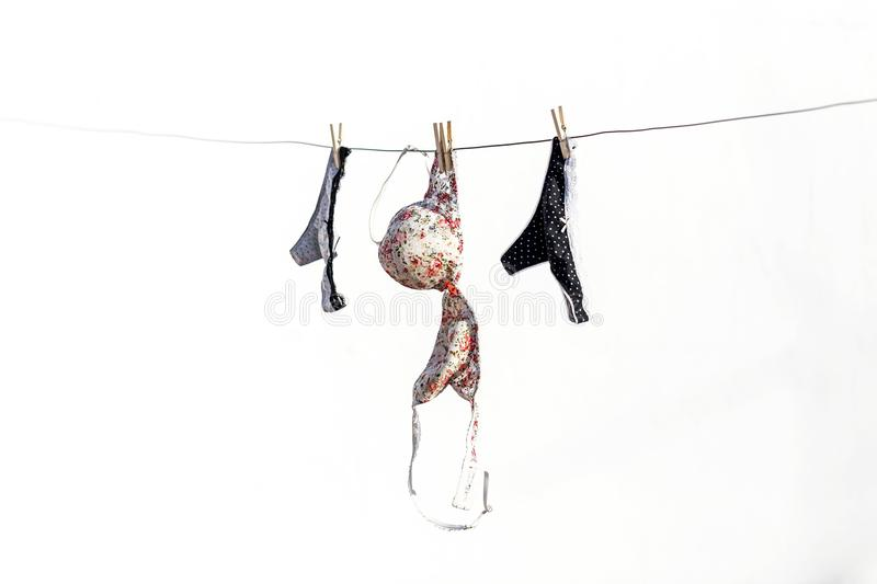 Lingerie panties and bra hanging on a terrace royalty free stock images