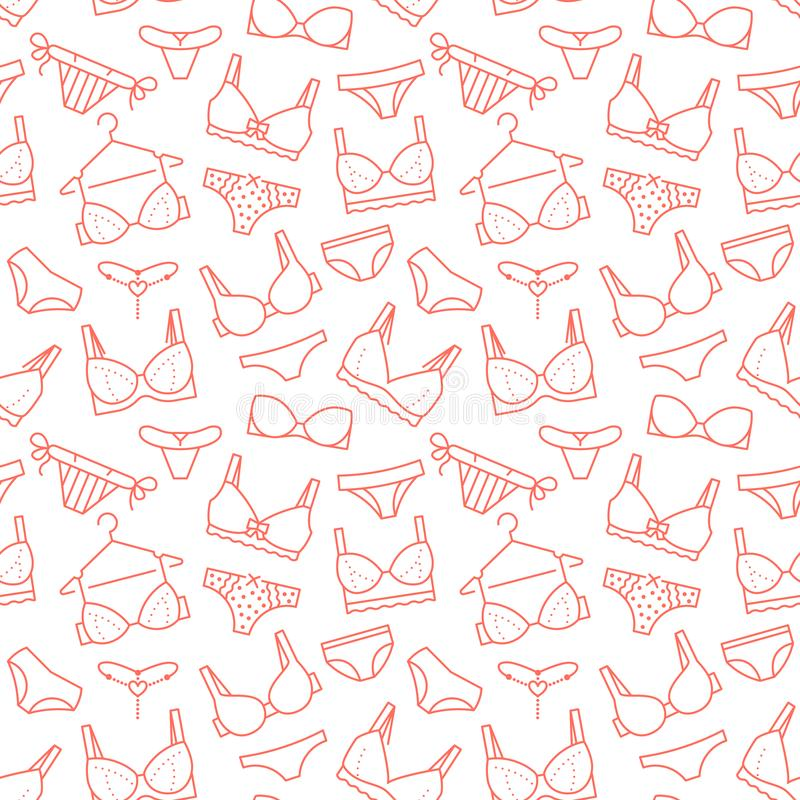 Lingerie seamless pattern with flat line icons of bra types, panties. Woman underwear background, vector illustrations vector illustration