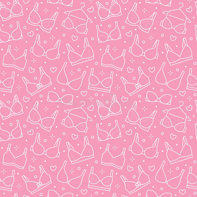 Lingerie seamless pattern with flat line icons of bra types. Woman underwear background, vector illustrations of royalty free illustration