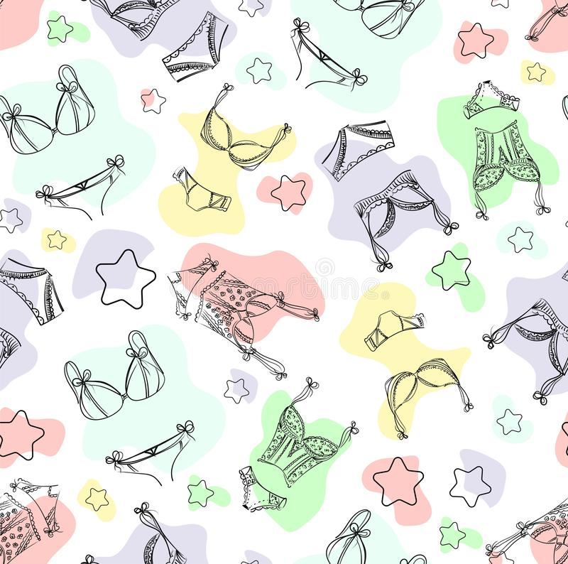 Lingerie seamless pattern. Hand drawn  underwear background for your design and print. Outline black and white illustration vector illustration