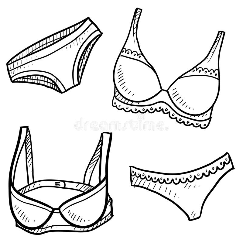 Lingerie Sketches Stock Images