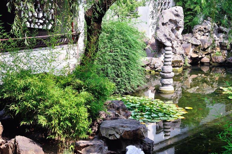 Lingering Garden lotus pond stock image