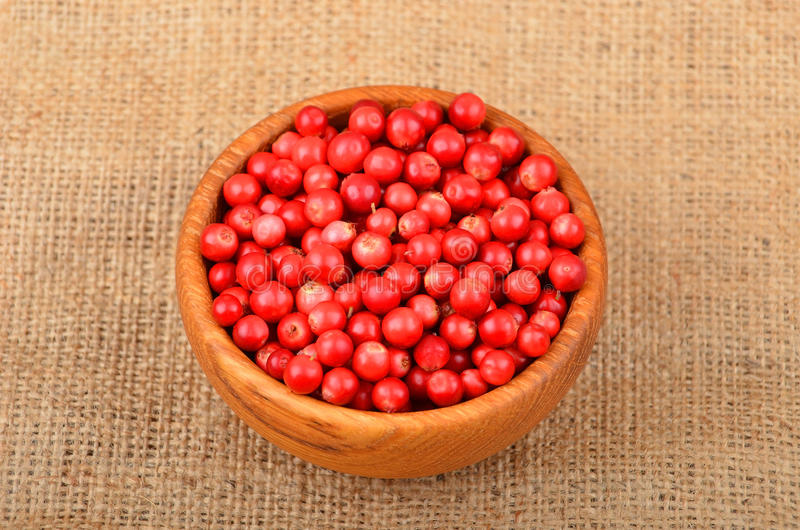 Lingonberry Vaccinium vitis-idaea. In dish on burlap background royalty free stock images