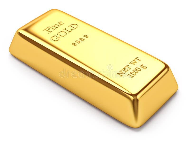 Lingot d'or sur le blanc illustration de vecteur