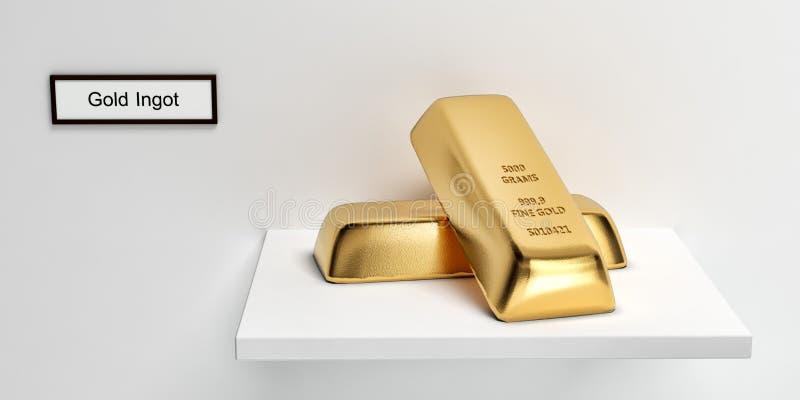 Lingot d'or sur une étagère illustration de vecteur