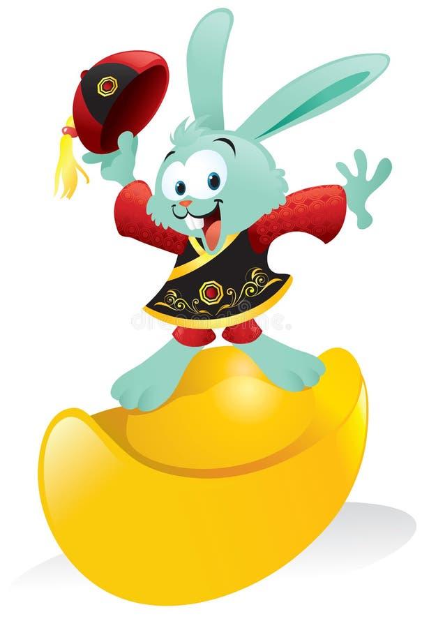 Lingote chinês do ouro da equitação do coelho ilustração royalty free