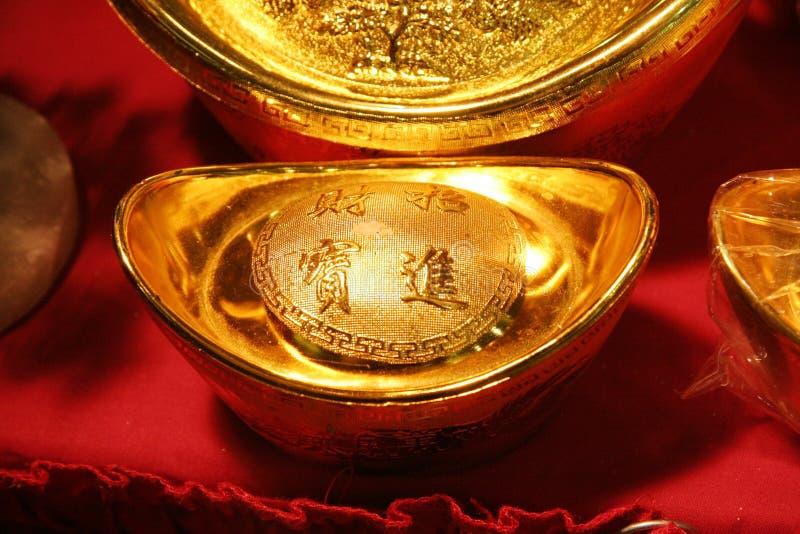 Lingote chino del oro fotos de archivo