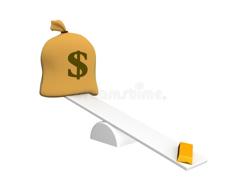 Lingote de ouro e de saco com dólares em pesos ilustração stock