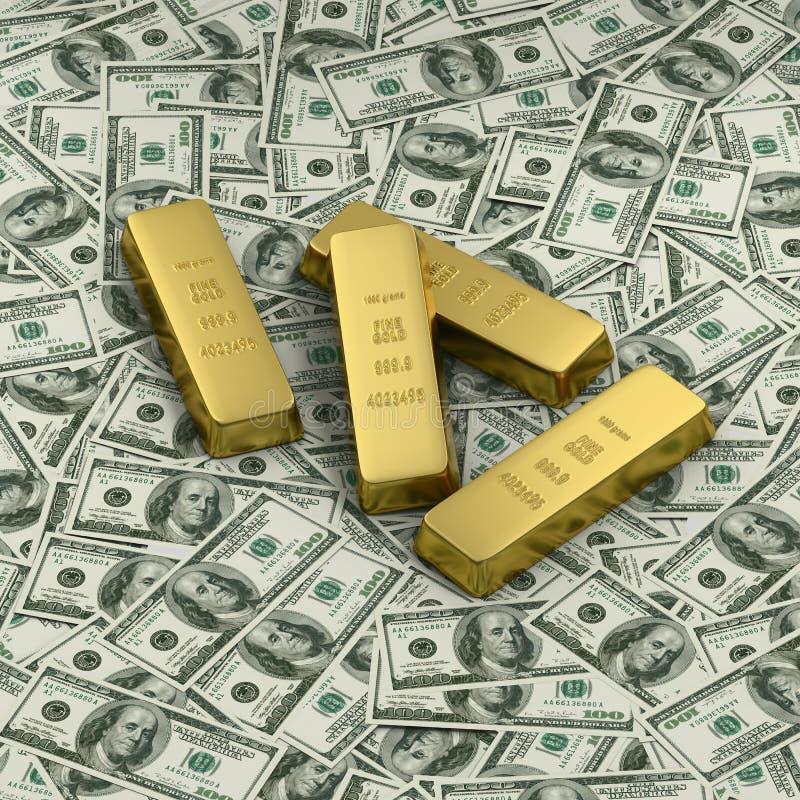 Lingote de ouro ou quatro lingotes em notas de banco do dólar americano ilustração do vetor