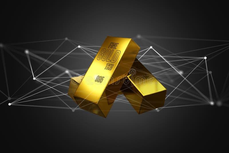 Lingote de ouro que shinning na frente da conexão - 3d rendem ilustração royalty free