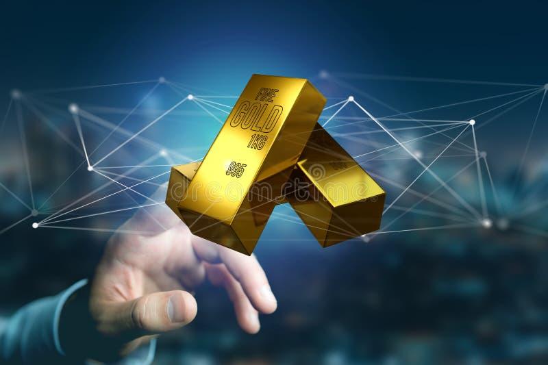 Lingote de ouro que shinning na frente da conexão - 3d rendem ilustração stock