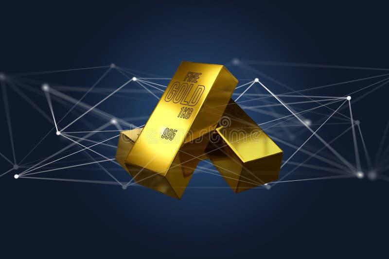 Lingote de ouro que shinning na frente da conexão - 3d rendem ilustração do vetor
