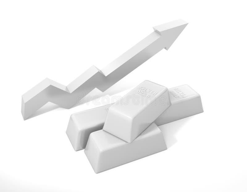Lingote de prata Preços em subida para a prata ilustração do vetor
