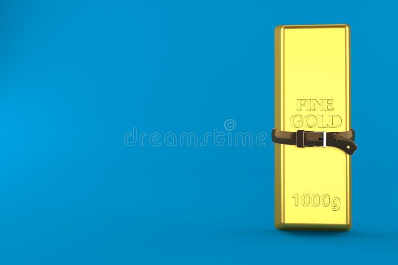 Lingote do ouro com correia apertada ilustração do vetor