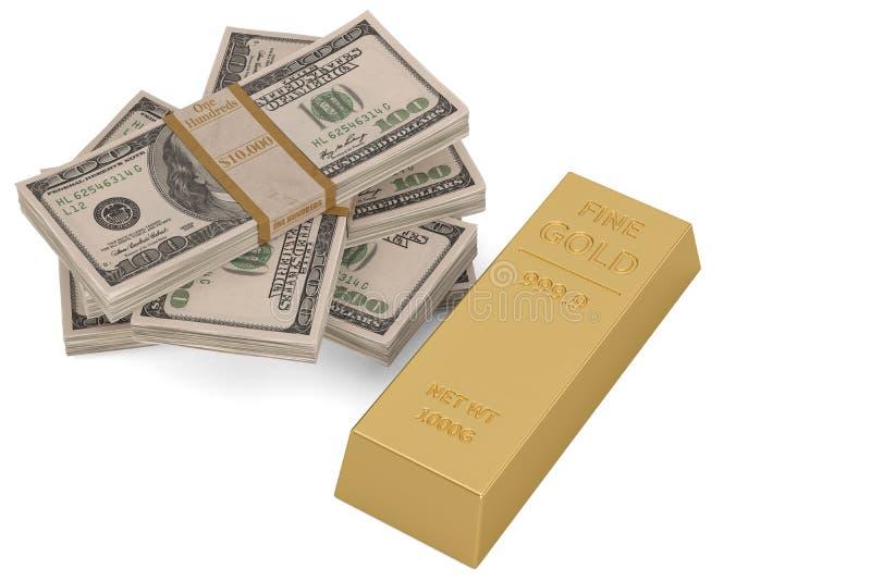 Lingote e d?lar do ouro isolados no fundo branco ilustra??o 3D ilustração royalty free