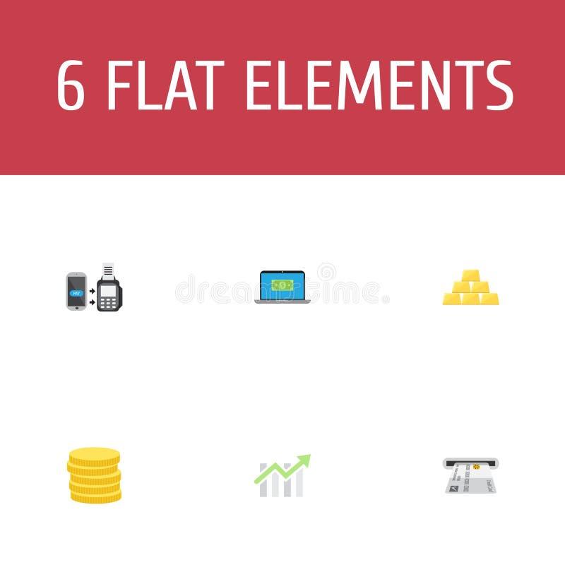 Lingote plano de los iconos, pequeño cambio, el pagar del telecontrol y otros elementos del vector El sistema de símbolos planos  ilustración del vector