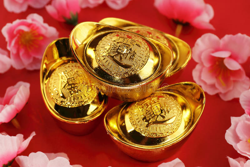 Lingotes chinos del oro foto de archivo libre de regalías