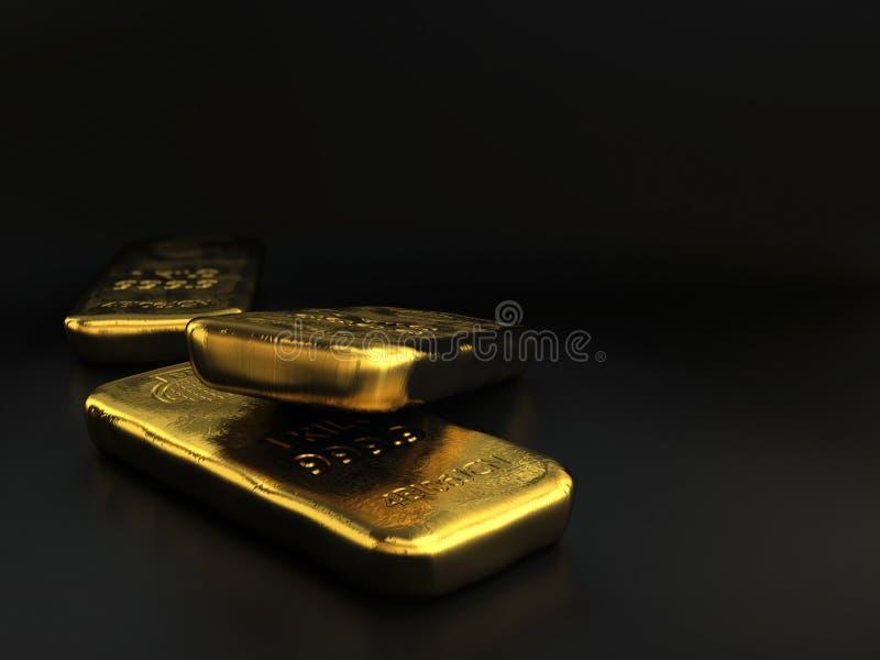 Lingotes de ouro sobre o preto ilustração stock