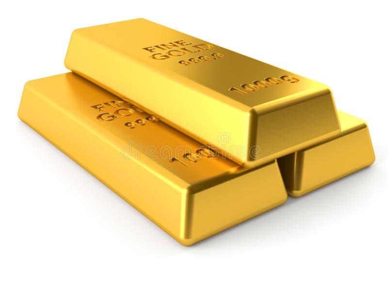 Lingotes do ouro ilustração stock