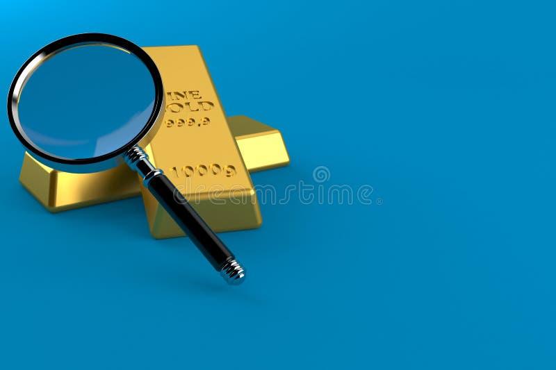 Lingotes do ouro com lupa ilustração royalty free