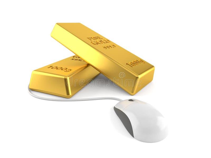 Lingotes do ouro com rato do computador ilustração stock