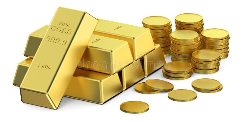 Lingotes y monedas del oro ilustración del vector