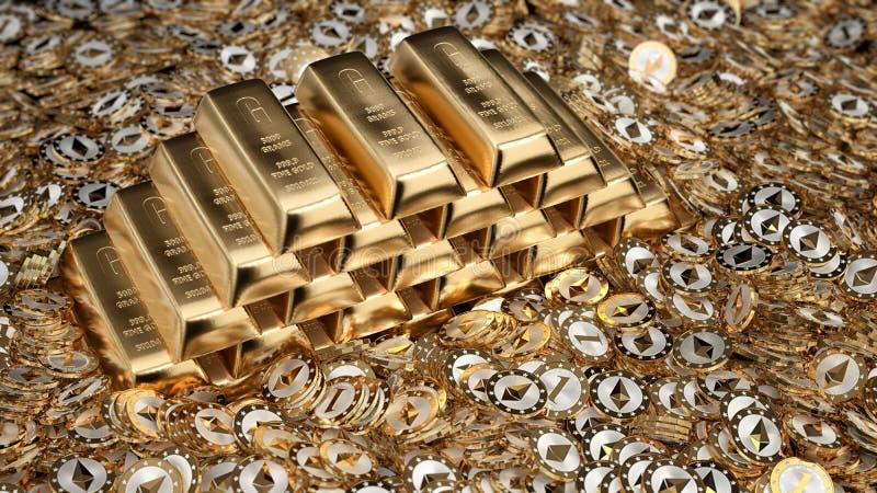 Lingots d'or et pièces de monnaie d'Ethereum illustration stock