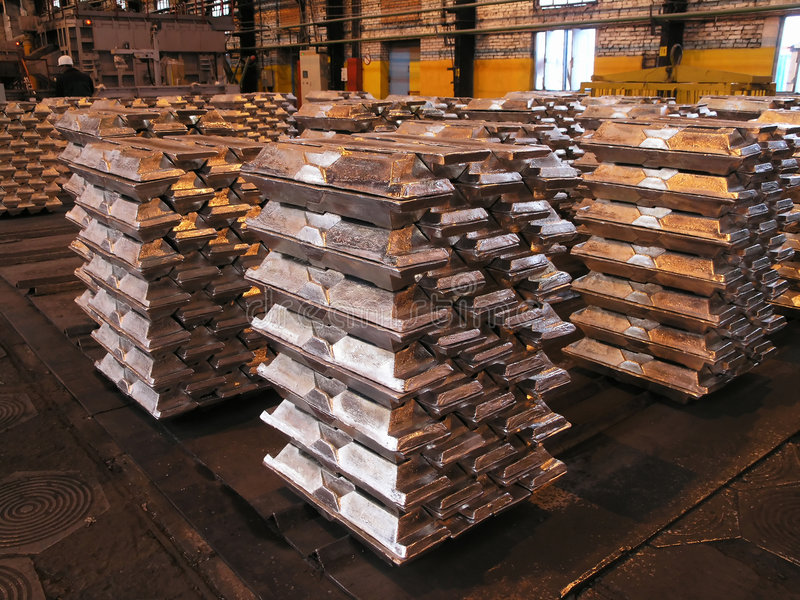 Lingots en aluminium images libres de droits