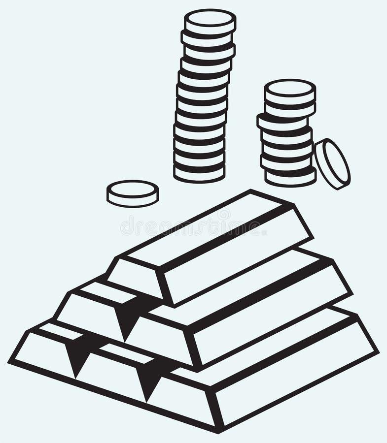 Lingots et pièces de monnaie d'or illustration de vecteur