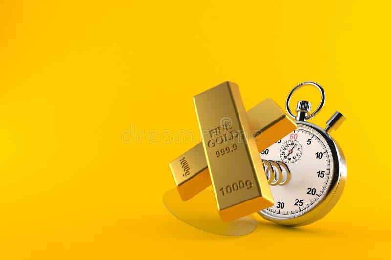 Lingotti dell'oro con il cronometro royalty illustrazione gratis