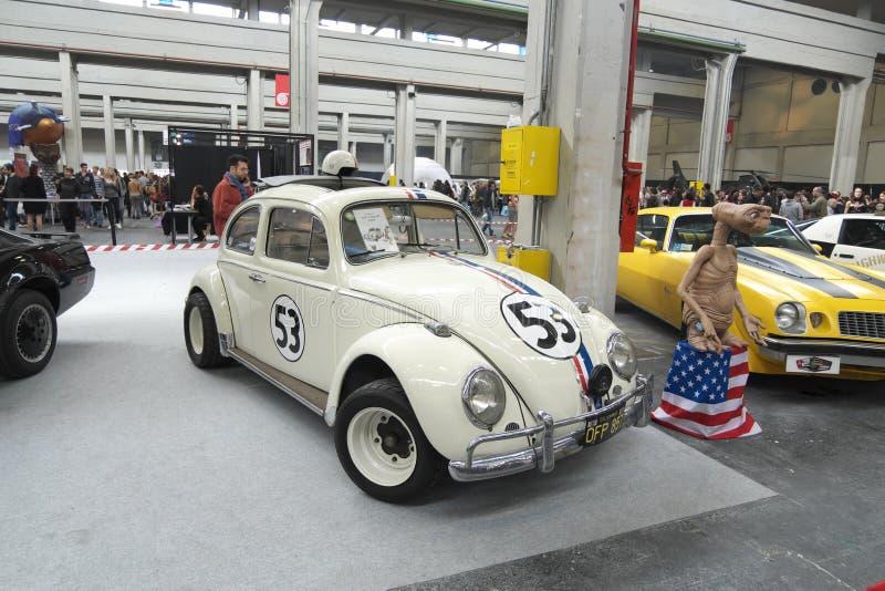 04-18-2015 Lingotto Fiere banda desenhada em Turin, Itália, Torino, Herbie, exposição do beatle de volkswagen foto de stock