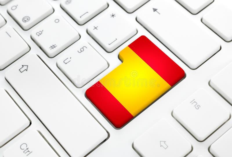 Lingua spagnola o concetto di web della Spagna La bandiera nazionale entra nel butto royalty illustrazione gratis