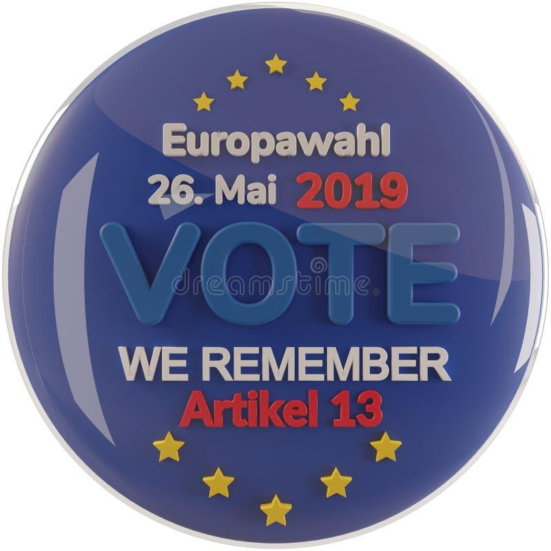 Lingua tedesco-inglese per le elezioni europee 2019 - ricordiamo l'articolo 13 3D-Illustration illustrazione di stock