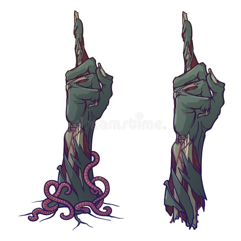 Linguagem corporal do zombi Apontando o dedo acima descrição vivo do rotting ilustração stock